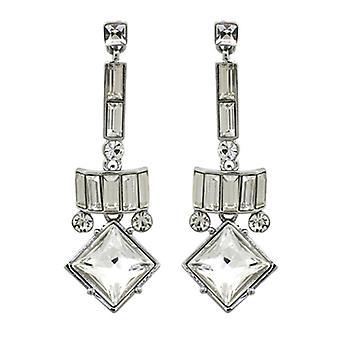 Butler & Wilson Vintage Square Shape Drop Art Deco Earrings