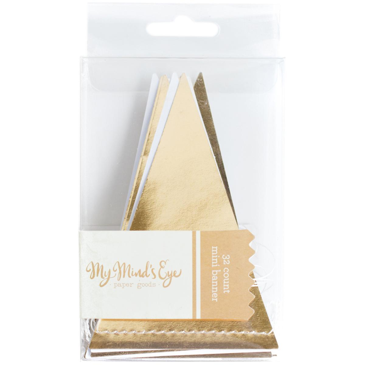 Trend Mini Pennant Banner 8'-Gold Foil, 32 Pennants TRP006