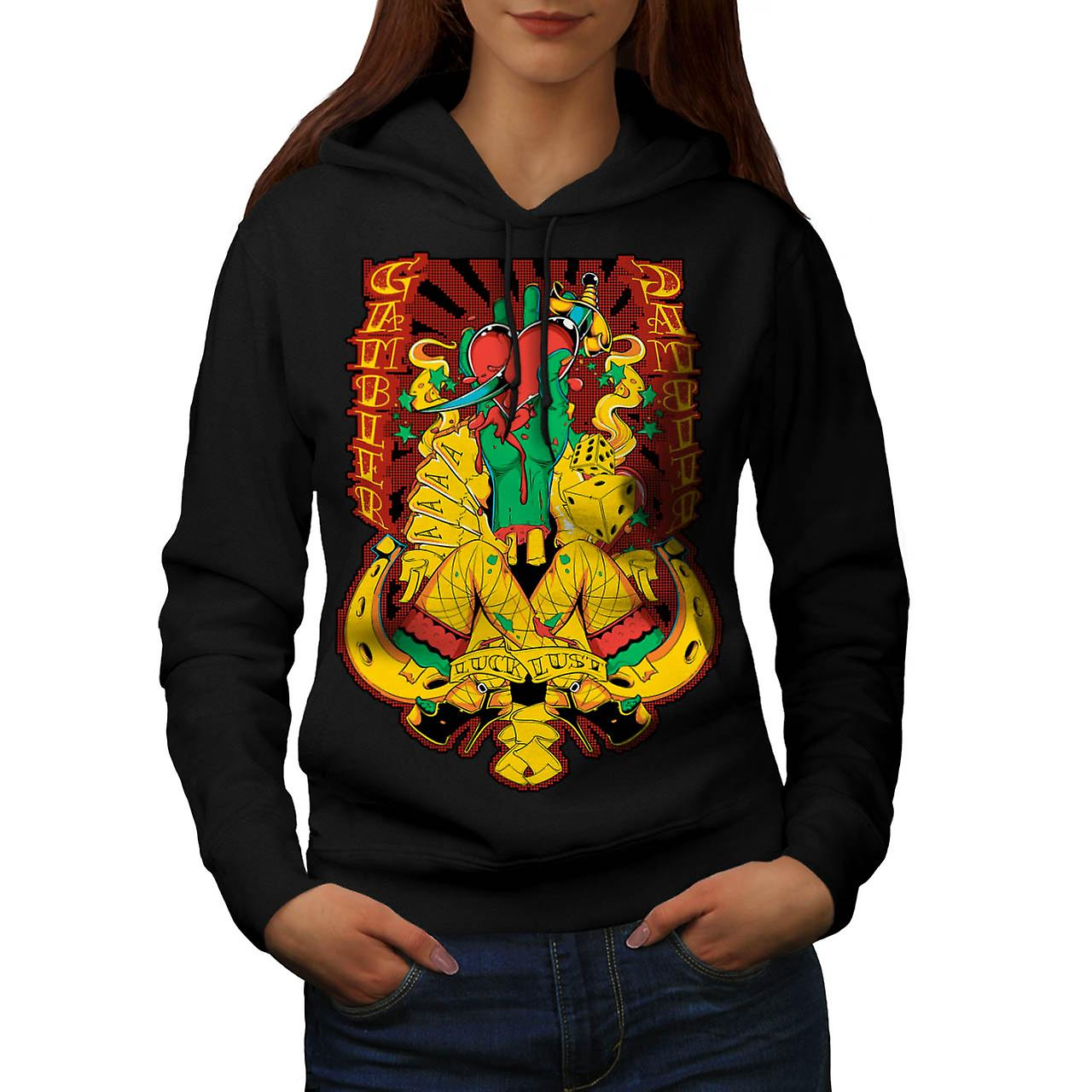 Gambler Luck Lust Sin Aces Card Women Black Hoodie | Wellcoda