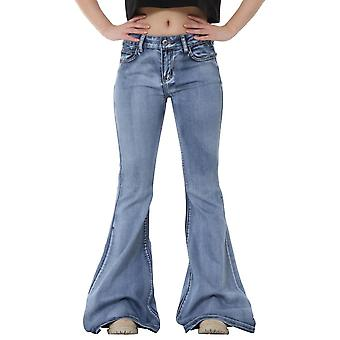 Faded Bellbottom Wide Flared Jeans - Blue