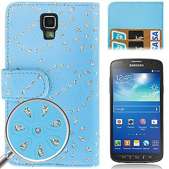 Cell phone cover case across for mobile Samsung Galaxy S4 active GT-I9295 blue