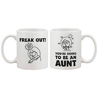 Freak Out You Are Going To Be An Aunt Cute Mug Baby Announcement Gift for Sister