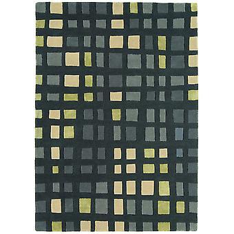 Matrix Green Geometric Wool &Viscose Rug