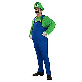 Luigi Deluxe Super Mario Bros Video Game Plumber 1980s Cartoon Men Costume