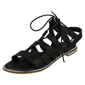 Ladies Spot On Flat Lace Up Gladiator Style Sandals