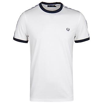 Fred Perry White scotchée Ringer à manches courtes T-Shirt