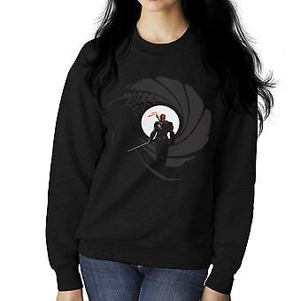 Deathstroke Slade Wilson licens til skråstreg James Bond Gun Barrel kvinders Sweatshirt