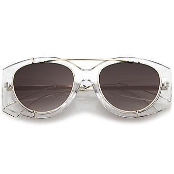 Futurystyczny przezroczyste drutu Metal broni poprzeczka okrągłe płaskie przeciwsłoneczne okulary Oversize 53mm