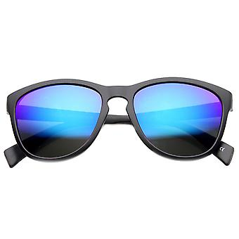 Retro Key Hole Mirror Lenses Horned Rim Sunglasses