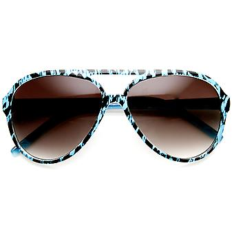 Womens Fashion Colorful Spotted Animal Print Aviator Sunglasses