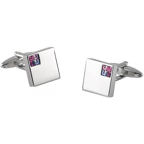 David Van Hagen Square Three Tone Crystal Cufflinks - Silver/Pink/Blue