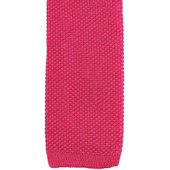 KJ Beckett Plain Cotton Tie - Cerise Pink