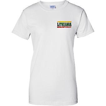 Efeito de bandeira nome Lituânia Grunge Country - senhoras peito Design t-shirt