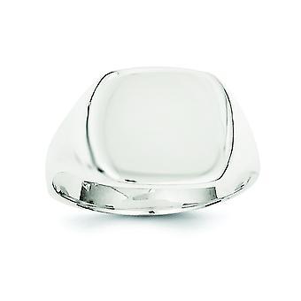 Sterlingsølv poleret Engravable lukket tilbage 12.5x14mm Solid tilbage signetring - ringstørrelse: 6-8
