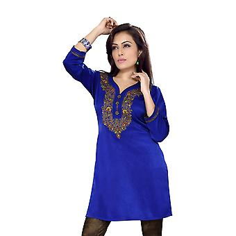 Azul Royal Velvet Indian Kurti / Kurta / túnica con bordados