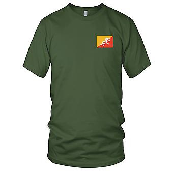 Bhutan-Land-Nationalflagge - Stickerei Logo - 100 % Baumwolle T-Shirt Herren T Shirt