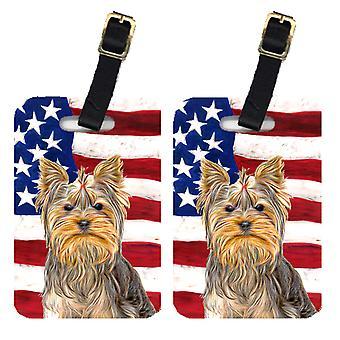 Par i USA amerikanska flaggan med Yorkie / Yorkshire Terrier bagage Tags
