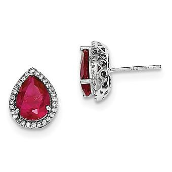 Created Synthetic Ruby and Synthetic Cubic Zirconia (CZ) Earrings in Sterling Silver