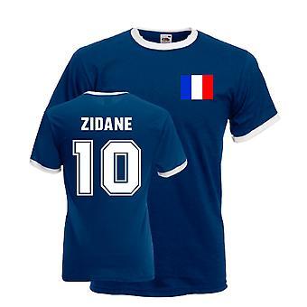 Zinedine Zidane France Ringer Tee (bleu foncé)