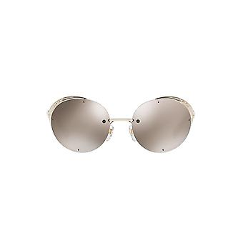 Valentino Eye Mesh Round Sunglasses In Light Gold Mirror