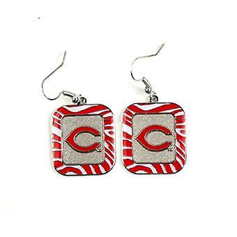 Cincinnati Reds MLB Zebra Style Dangle Earrings