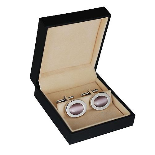 Rhodium plated 16x21mm oval pink stone set swivel Cufflinks