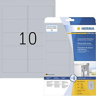 Herma 4223 Labels (A4) 96 x 50.8 mm Polyester film Silver 250 pc(s) Permanent Nameplates Laser, Copier