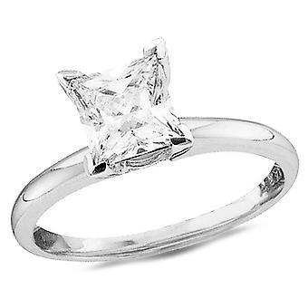 14K White Gold Princess Cut 3/4 Carat (ctw Color J-K Clarity I2) Diamond Solitaire Engagement Ring