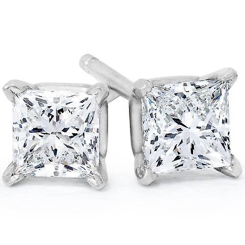 1 4CT Princess Cut Diamond goujons 14K or blanc