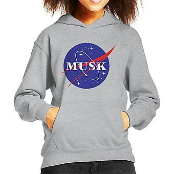 Elon Musk Nasa Logo Mix Kid's Hooded Sweatshirt