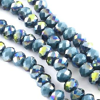 95+ Blue/Rainbow Czech Crystal Opaque Glass 4x6mm Faceted Rondelle Beads HA20965