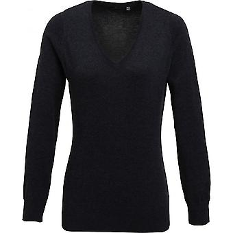 Premier Womens/Ladies V-Neck Cotton Acrylic Knitted Corporate Sweater