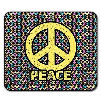 Paz patrón arte ratón antideslizante alfombra Pad 24 cm x 20 cm | Wellcoda