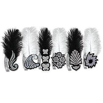 Roaring 20'S Glitter Foil Tiaras WHITE OR BLACK With Ostrich Plume