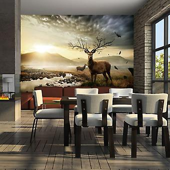 Wellindal Wallpaper Deers by mountain stream (Decoration , Vinyls)