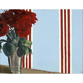 Red Red Roses (acrylic on canvas) by Alix.. - Tea Towel 100% Cotton - Art247