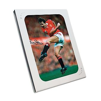 Bryan Robson Signed Manchester United Photo In Gift Box