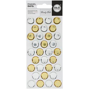 Clearly Posh Enamel Stickers-Silver & Gold Dots