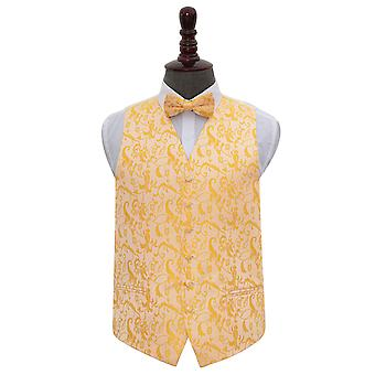 Gold Floral Wedding Waistcoat & Bow Tie Set