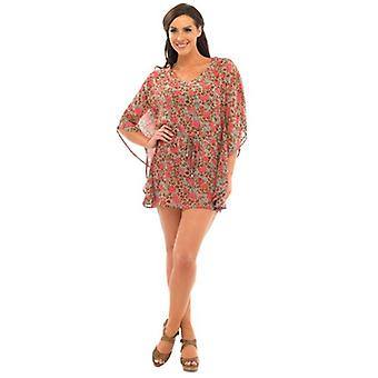 Womens Summer Floral Leopard Print Kaftan With Waist Tie Various Colours & Sizes
