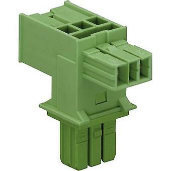 Mains T distributor Mains plug - Mains socket, Mains socket Total number of pins: 2 Green WAGO 1 pc(s)