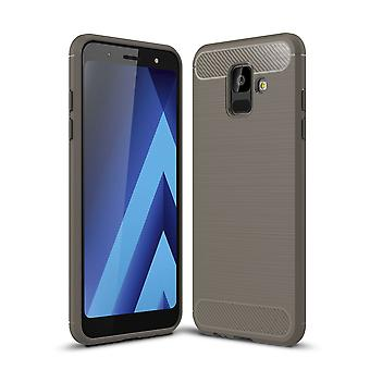 Carbono de silicone cinza capa Samsung Galaxy A6 2018 olha caso capa TPU móvel de para-choques 211771
