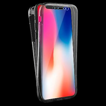 Crystal Case cover for Apple iPhone X grey frame full body