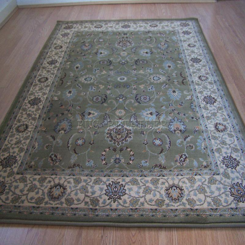 Rugs tashkent green cream 137 g fruugo for Green and cream rugs