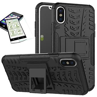 Hybrid case 2 piece black for Apple iPhone XS MAX 6.5 inch + tempered glass bag case cover