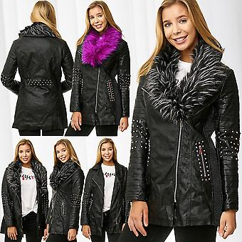Ladies Jacket Coat Leather Optic Leather Jacket Short Coat Fake Fur Rivets Parka
