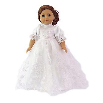 18 インチの人形に白の床長さキラキラ ドレス