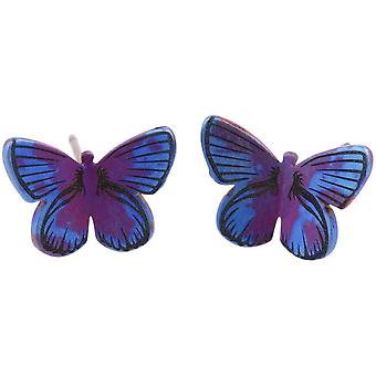 Ti2 Titanium Woodland Medium Butterfly Stud Earrings - Purple
