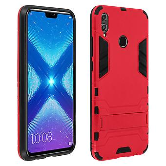 Silicone case, shockproof cover for Honor 8X with kickstand - Red