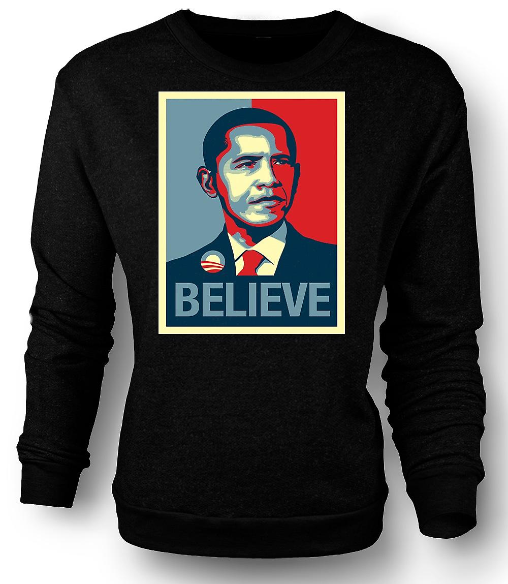 Mens Sweatshirt Obama pense changement